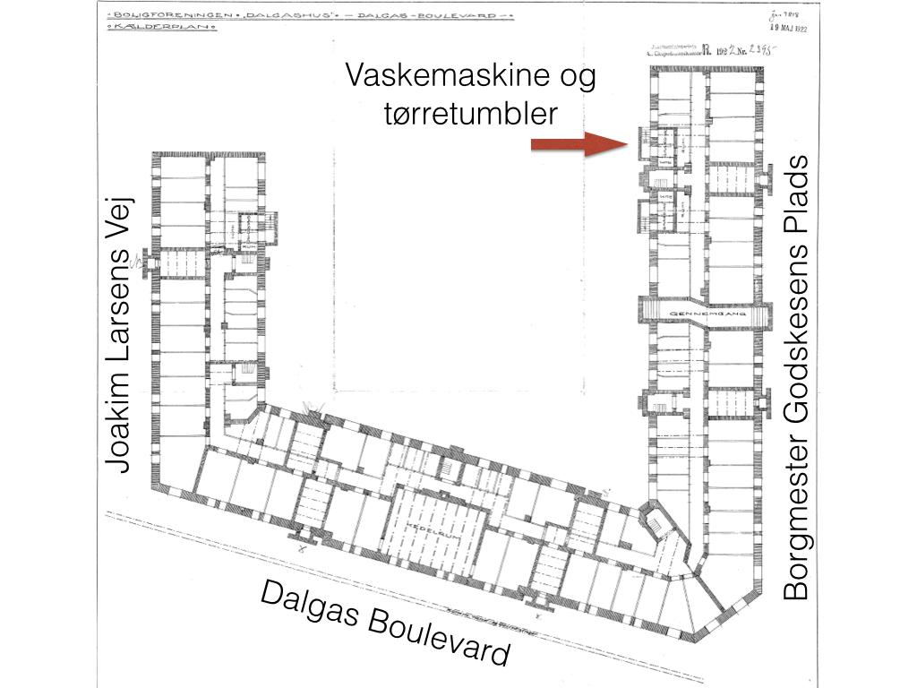 Placering af tørretumbler i kælder.